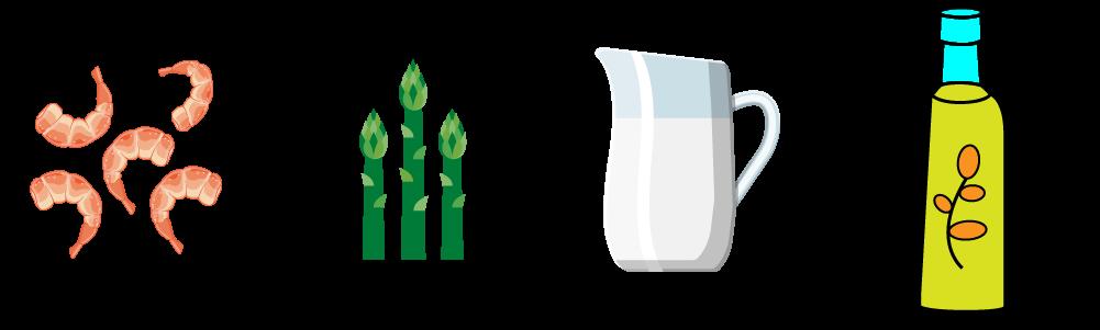 Anelli di semolino con condimento d'Asparago Verde di Altedo e scampi