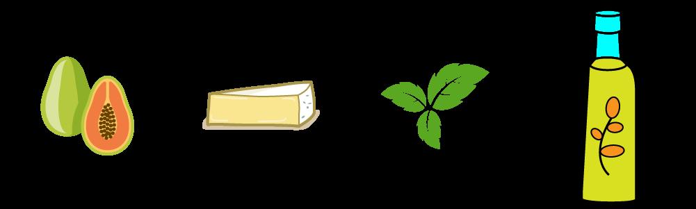 Canestrini di Taleggio e papaia con spuma di tomino